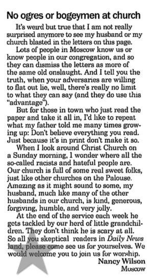 "Moscow-Pullman Daily News: ""No ogres or bogeymen at church"" — Nancy Wilson"
