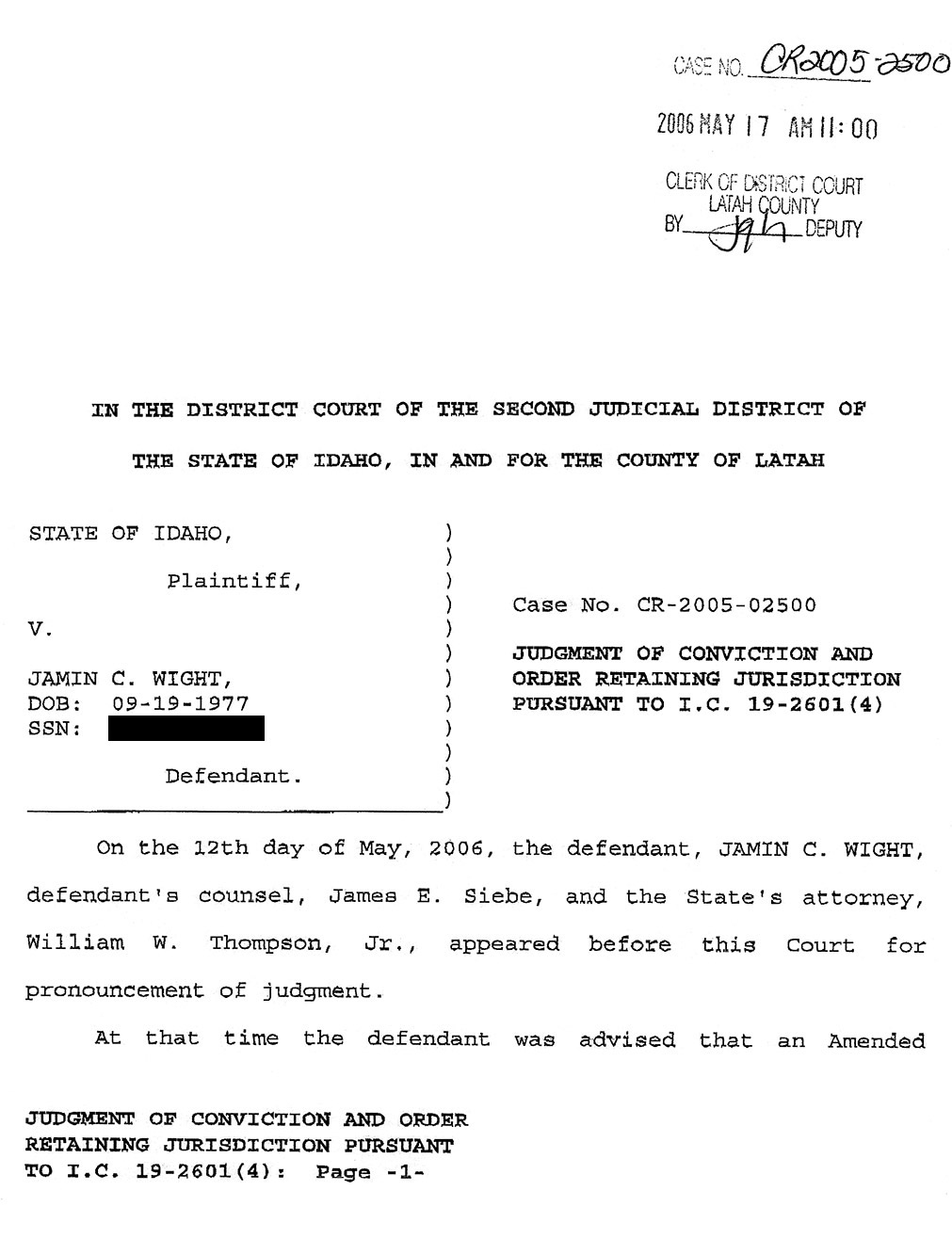 Jamin Wight: Judgment of Conviction and Order Retaining Jurisdiction page 1