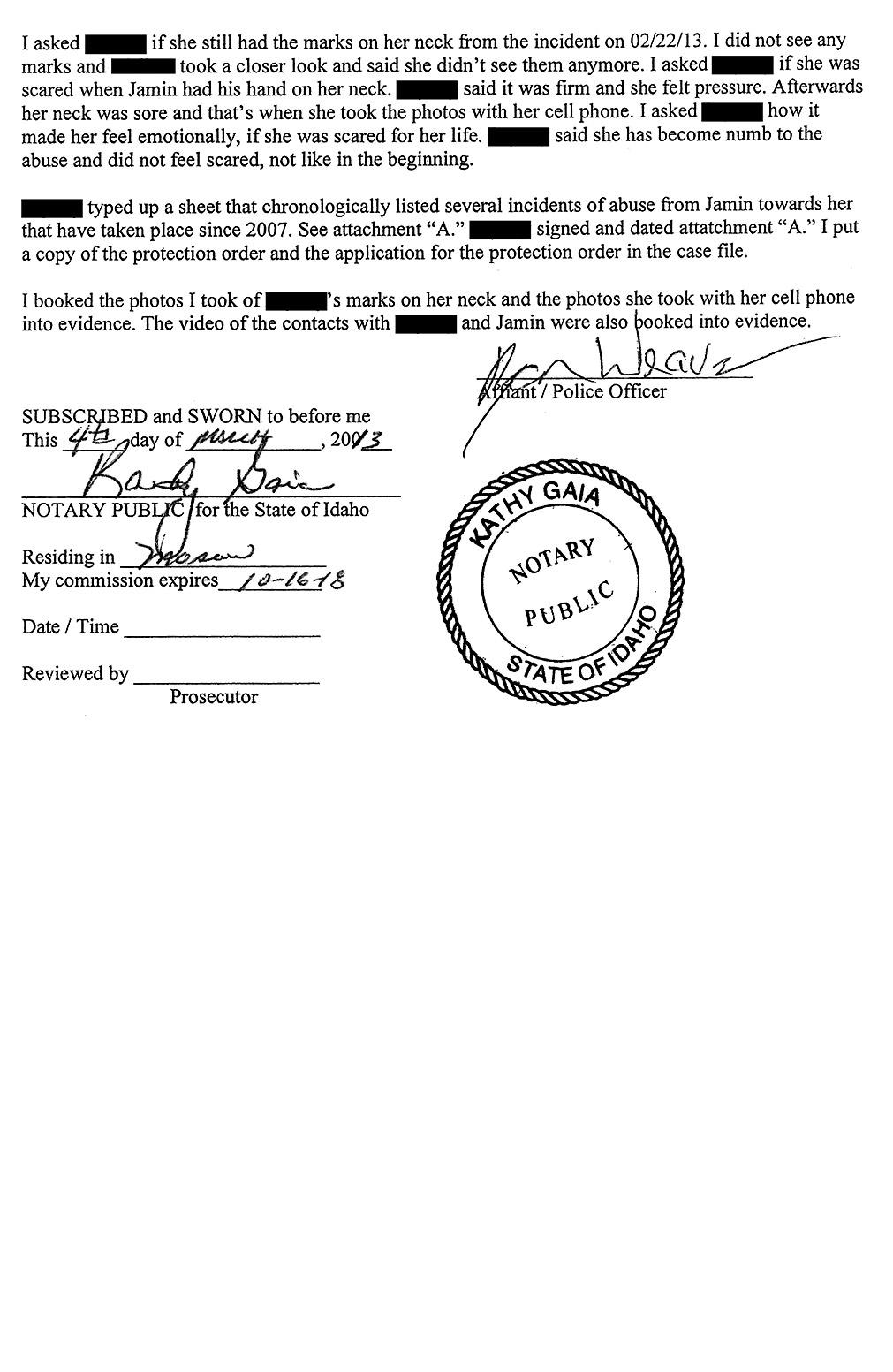 Affidavit of Latah County Sheriff's Detective Ryan Weaver page 5