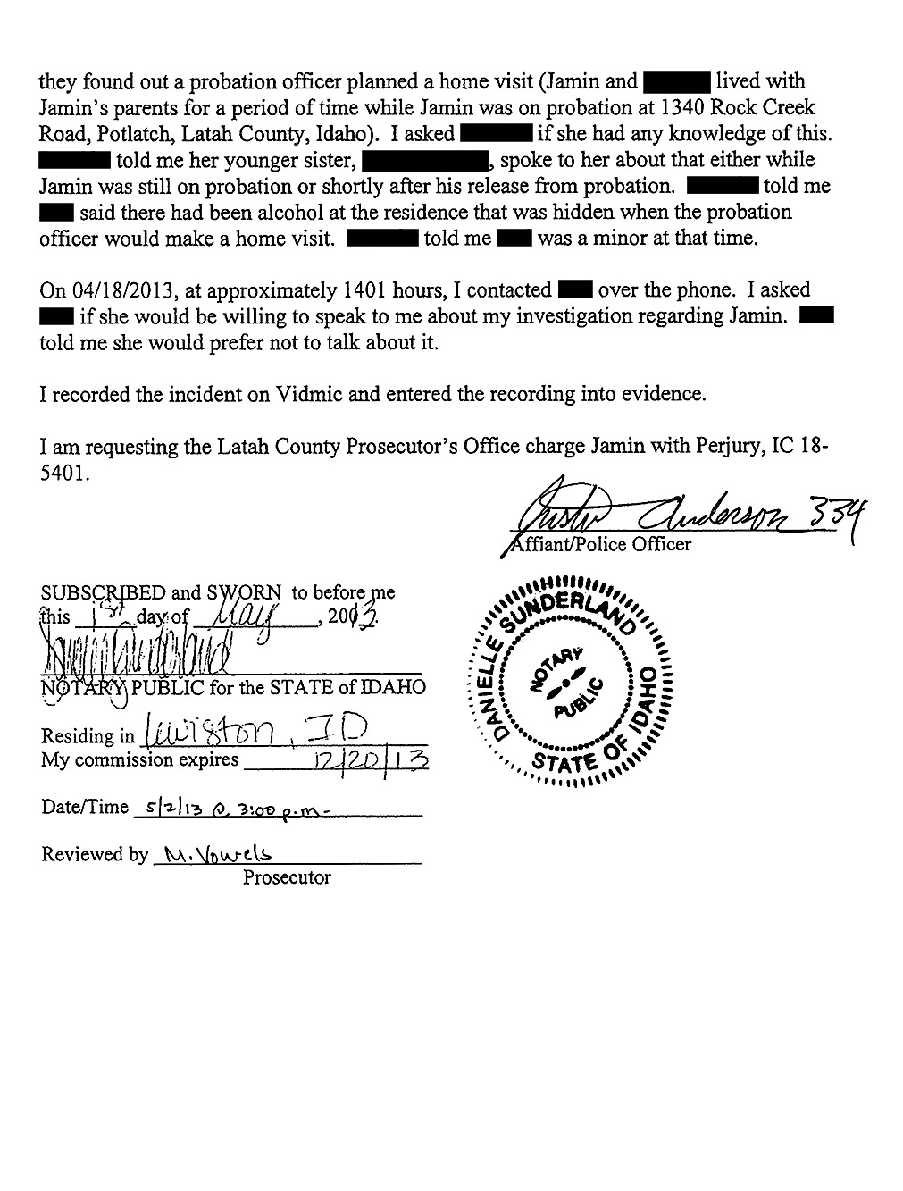 Affidavit of Latah County Sheriff's Detective Justin Anderson page 6
